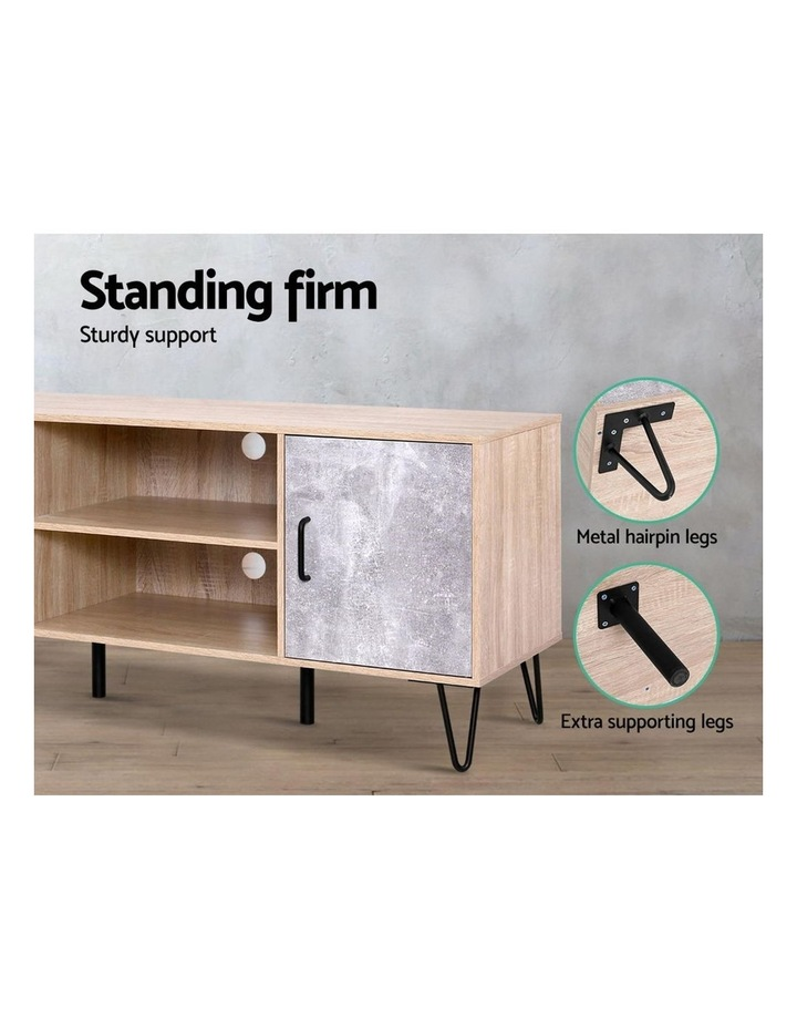 TV Cabinet Entertainment Unit Stand Industrial Wooden Metal Legs Oak image 6