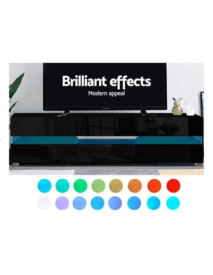 TV Cabinet Entertainment Unit Stand RGB LED Gloss Furniture 177cm Black image 3