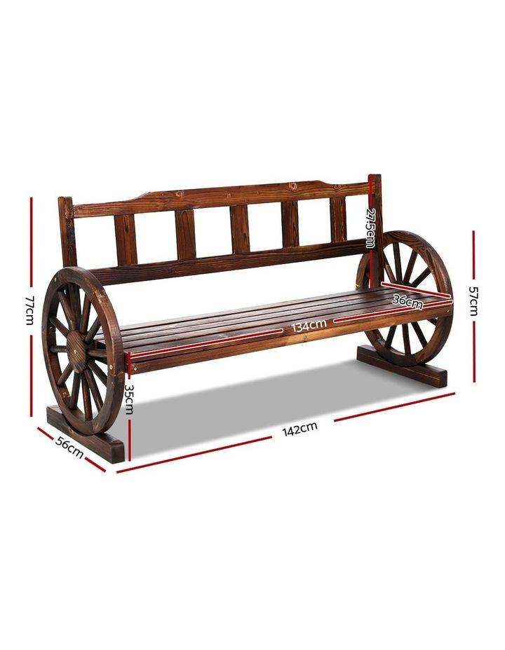 Garden Bench Wooden Wagon Chair 3 Seat Outdoor Furniture Backyard Lounge image 2