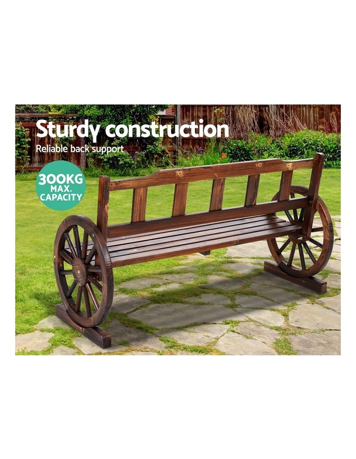 Garden Bench Wooden Wagon Chair 3 Seat Outdoor Furniture Backyard Lounge image 4
