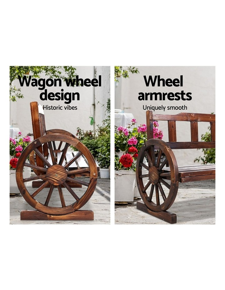 Garden Bench Wooden Wagon Chair 3 Seat Outdoor Furniture Backyard Lounge image 5