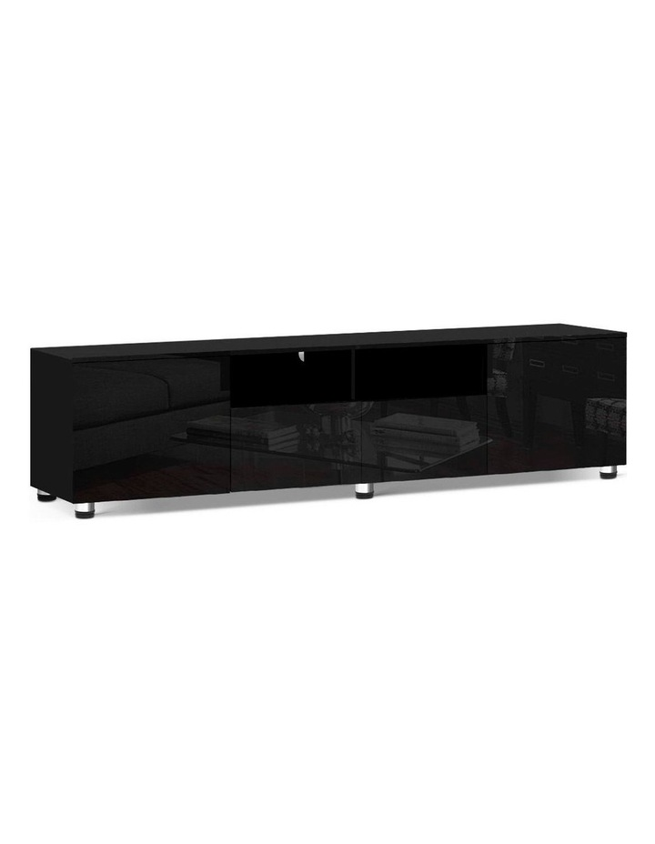 TV Cabinet Entertainment Unit Stand High Gloss Furniture 205cm Black image 1