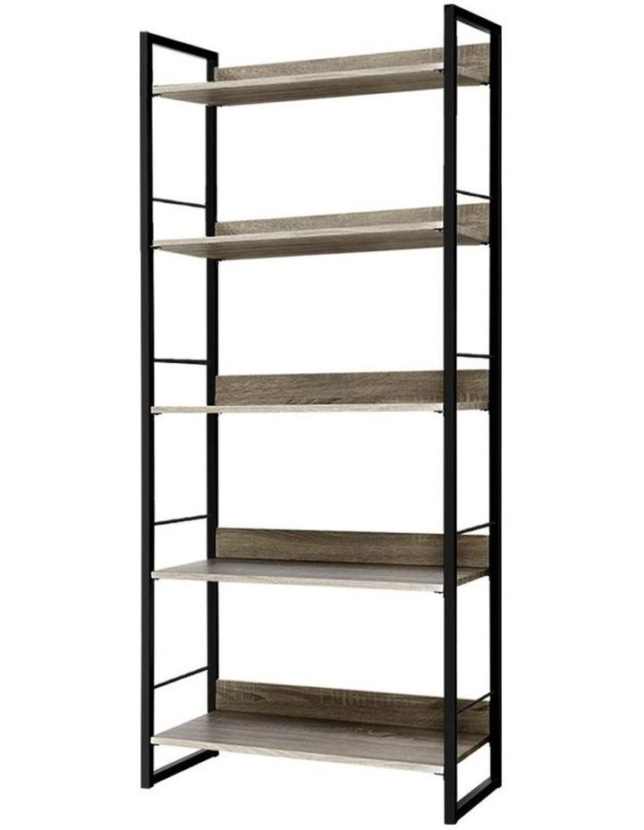 Bookshelf Wooden Display Shelves Bookcase Shelf Storage Metal Wall Black image 1