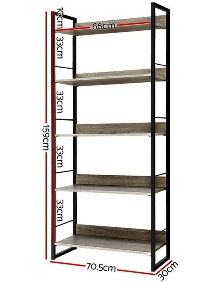 Bookshelf Wooden Display Shelves Bookcase Shelf Storage Metal Wall Black image 2