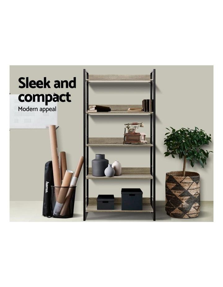 Bookshelf Wooden Display Shelves Bookcase Shelf Storage Metal Wall Black image 4