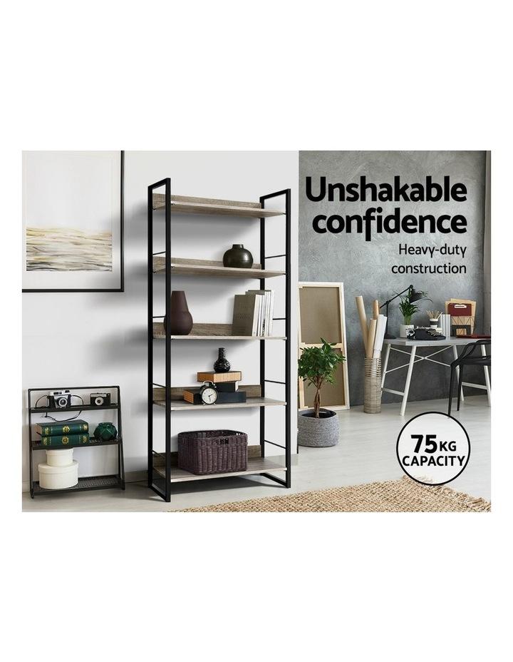 Bookshelf Wooden Display Shelves Bookcase Shelf Storage Metal Wall Black image 5
