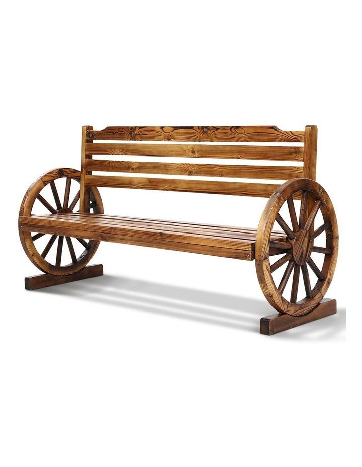 Garden Bench Wooden Wagon Chair 3 Seat Outdoor Furniture Backyard Lounge image 1