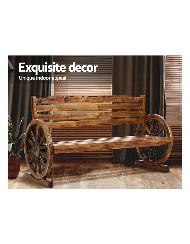 Garden Bench Wooden Wagon Chair 3 Seat Outdoor Furniture Backyard Lounge image 6