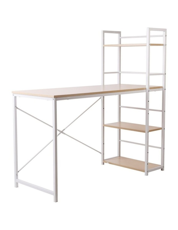 Metal Desk with Shelves - White with Oak Top image 1