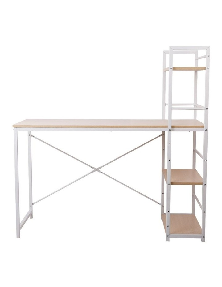 Metal Desk with Shelves - White with Oak Top image 3