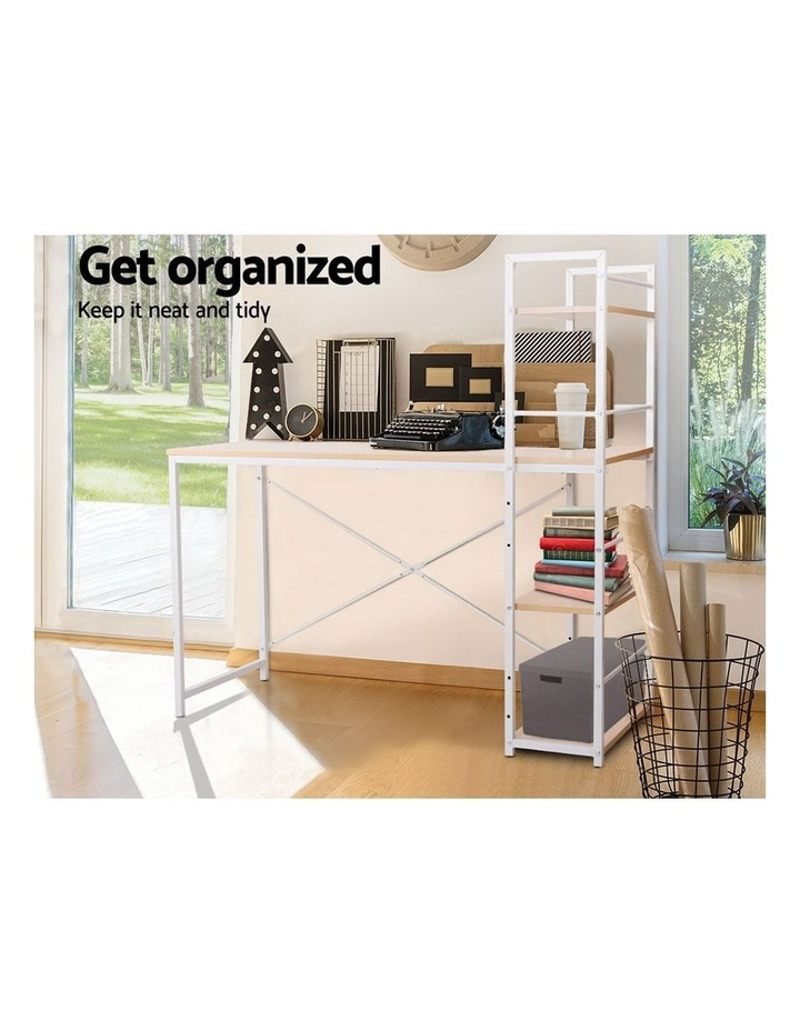 Metal Desk with Shelves - White with Oak Top image 6