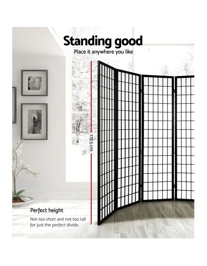 8 Panel Room Divider Screen Privacy Dividers Stand Oriental Vintage Black image 3