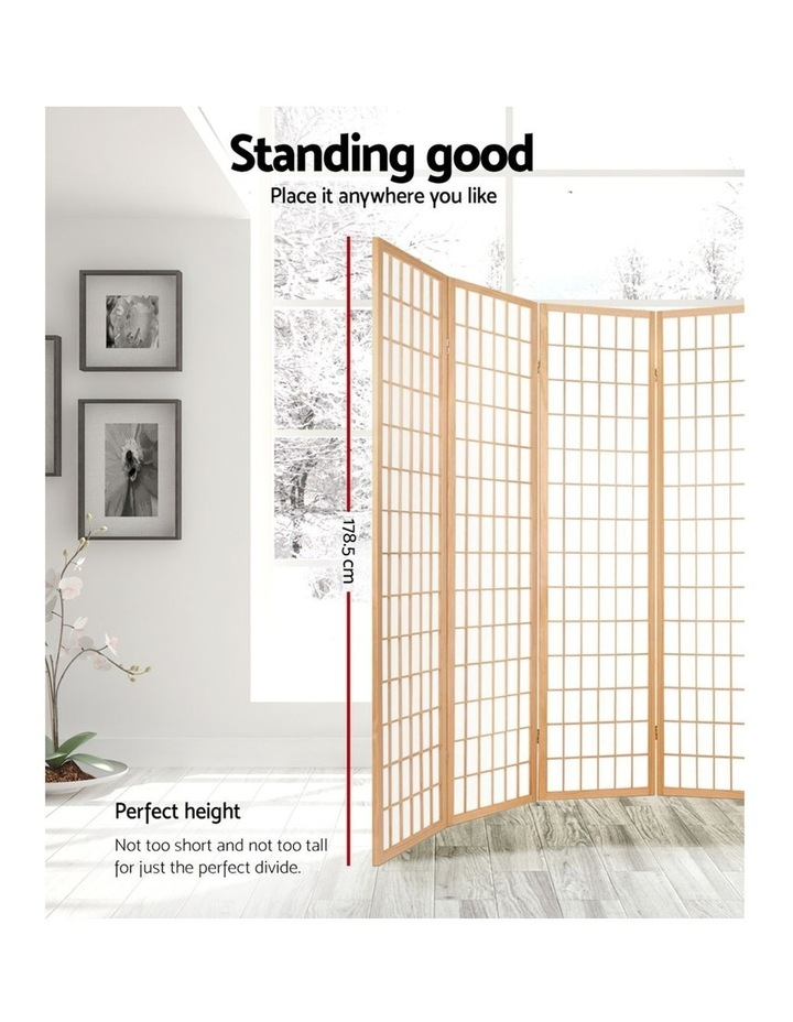 8 Panel Room Divider Screen Privacy Dividers Wood Stand Oriental Natural image 3