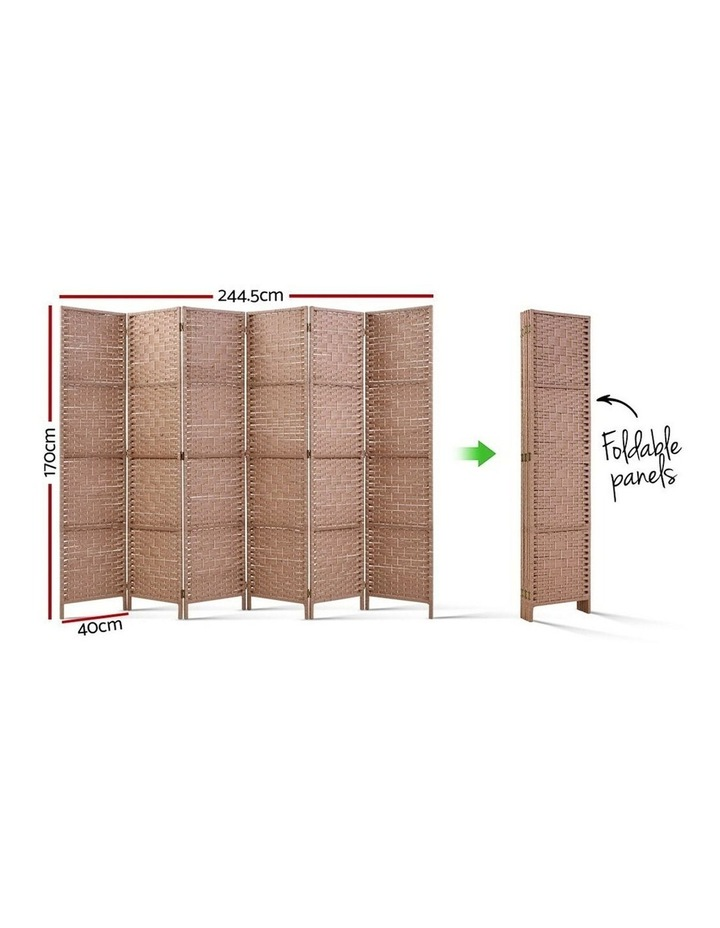 6 Panel Room Divider Screen Privacy Rattan Timber Foldable Dividers Stand Hand Woven image 2
