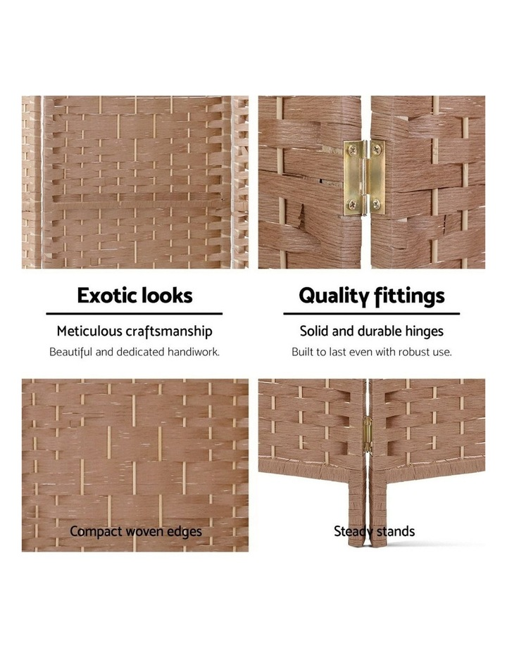 6 Panel Room Divider Screen Privacy Rattan Timber Foldable Dividers Stand Hand Woven image 3