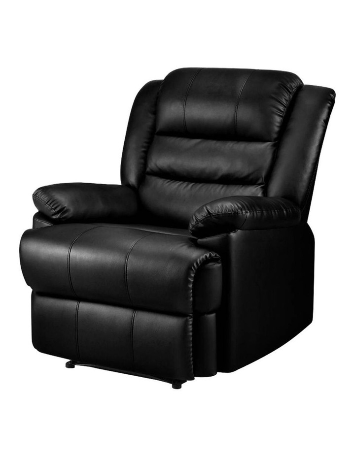 Recliner Chair Armchair Luxury Single Lounge Sofa Couch Leather Black image 1