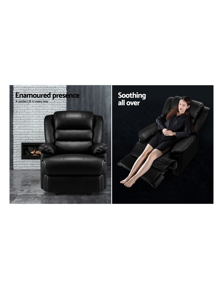 Recliner Chair Armchair Luxury Single Lounge Sofa Couch Leather Black image 3