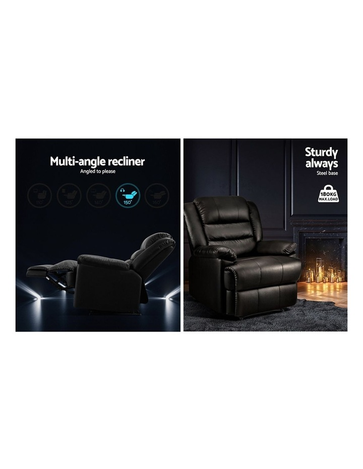 Recliner Chair Armchair Luxury Single Lounge Sofa Couch Leather Black image 4