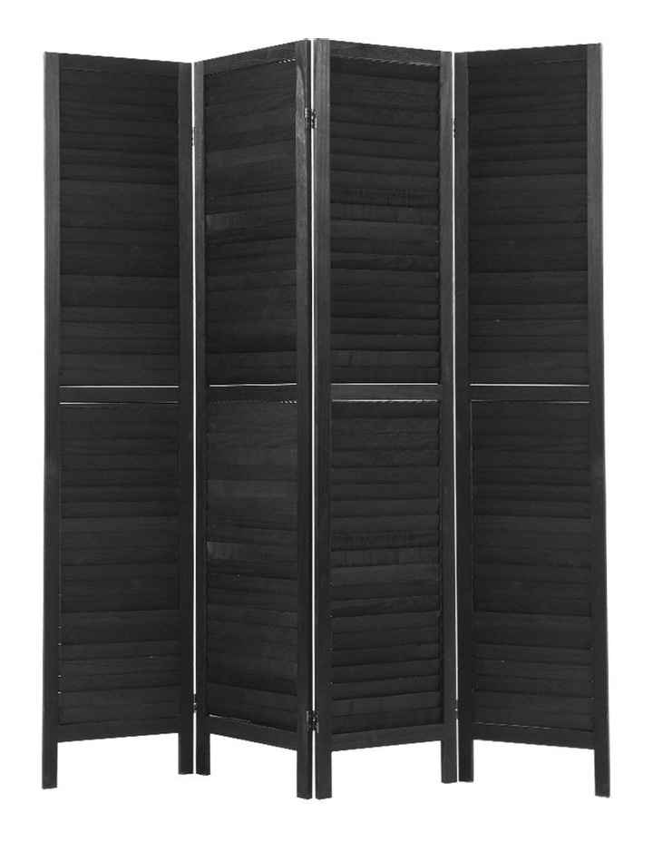 4 Panel Room Divider Screen Privacy Wood Dividers Timber Stand Black image 1