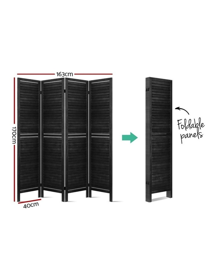 4 Panel Room Divider Screen Privacy Wood Dividers Timber Stand Black image 2