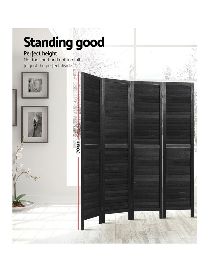 4 Panel Room Divider Screen Privacy Wood Dividers Timber Stand Black image 3