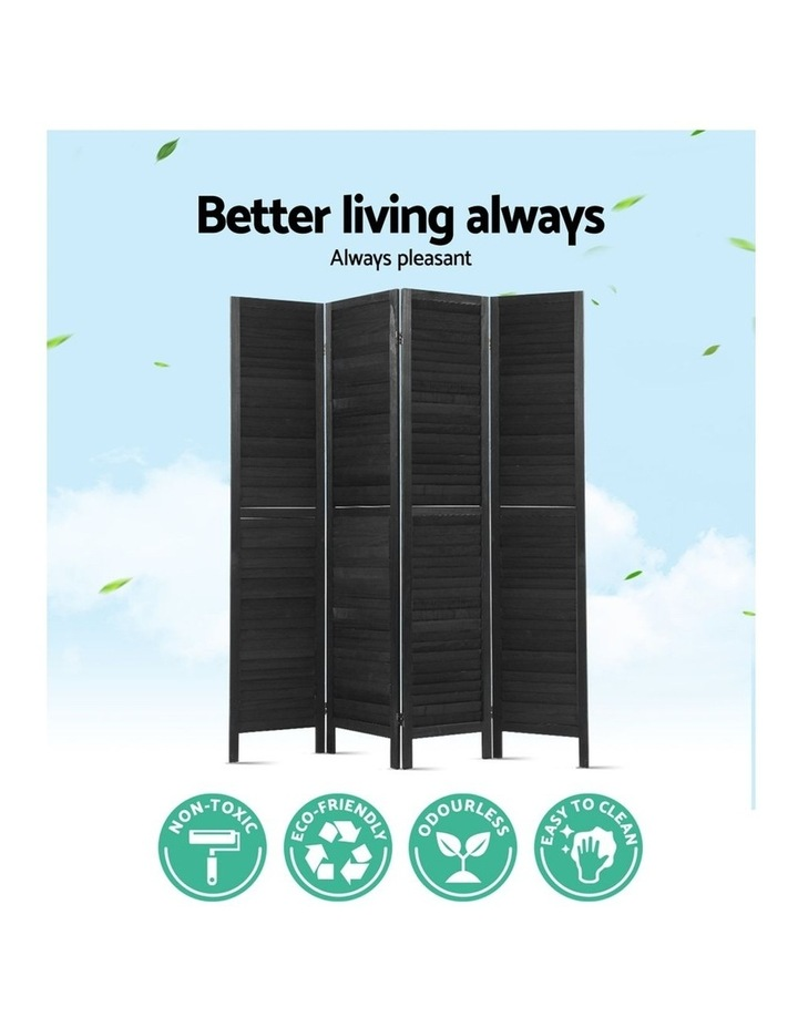 4 Panel Room Divider Screen Privacy Wood Dividers Timber Stand Black image 4
