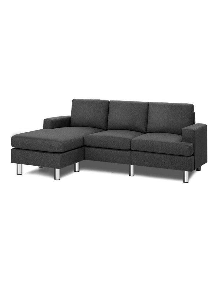 Sofa Lounge Set Couch Futon Corner Chaise Fabric 3 Seater Suite Dark Grey image 1