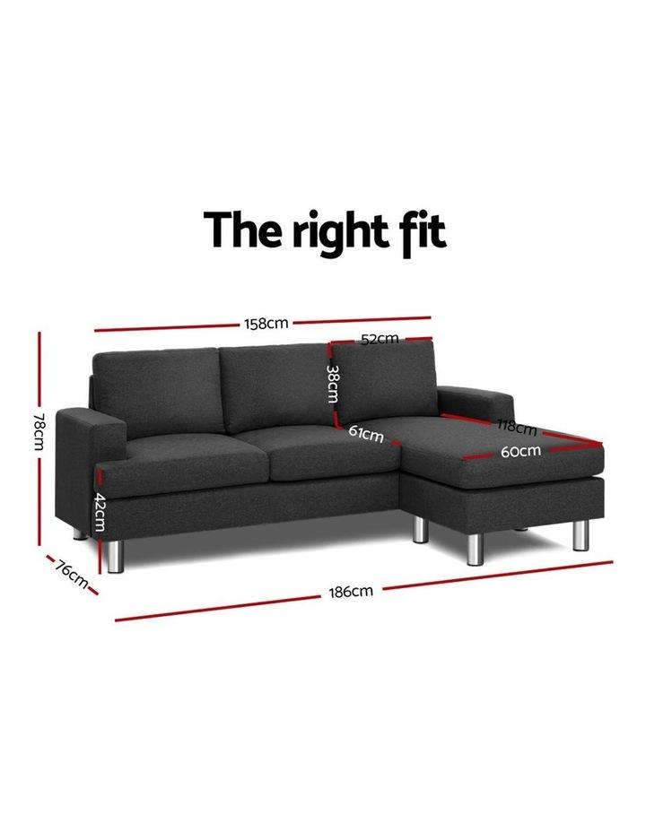 Sofa Lounge Set Couch Futon Corner Chaise Fabric 3 Seater Suite Dark Grey image 2