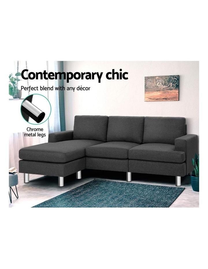Sofa Lounge Set Couch Futon Corner Chaise Fabric 3 Seater Suite Dark Grey image 3