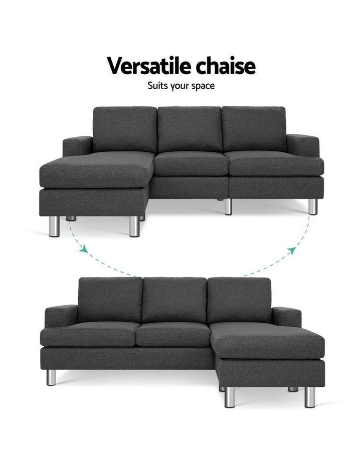 Sofa Lounge Set Couch Futon Corner Chaise Fabric 3 Seater Suite Dark Grey image 4