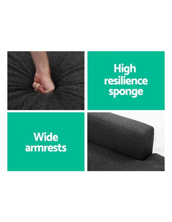 Sofa Lounge Set Couch Futon Corner Chaise Fabric 3 Seater Suite Dark Grey image 5