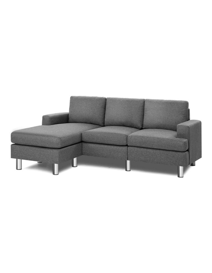 Sofa Lounge Set Couch Futon Corner Chaise Fabric 4 Seater Suite Grey image 1