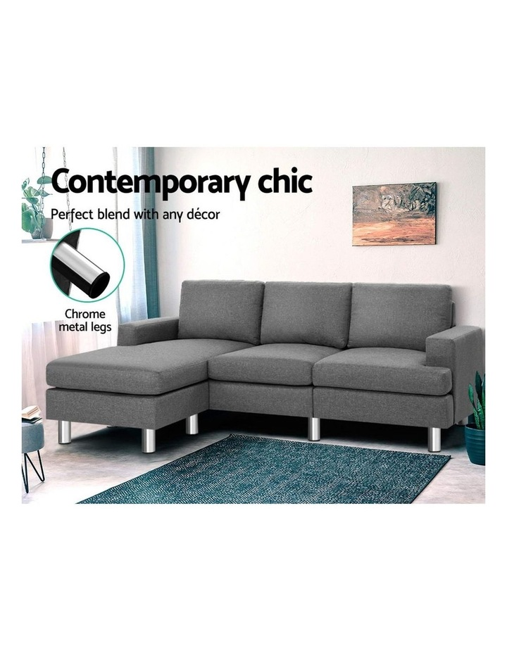 Sofa Lounge Set Couch Futon Corner Chaise Fabric 4 Seater Suite Grey image 3