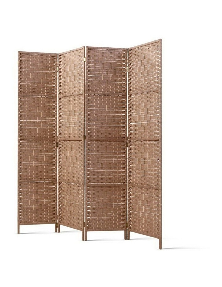 4 Panel Room Divider Screen Privacy Rattan Timber Foldable Dividers Stand Hand Woven image 1