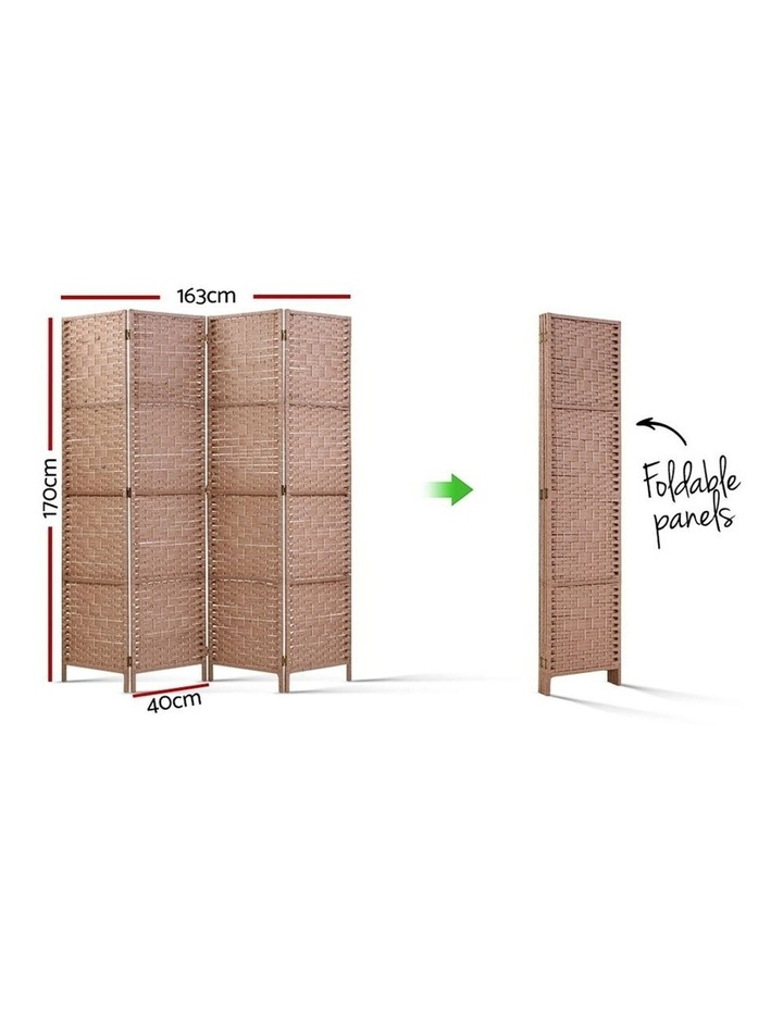 4 Panel Room Divider Screen Privacy Rattan Timber Foldable Dividers Stand Hand Woven image 2