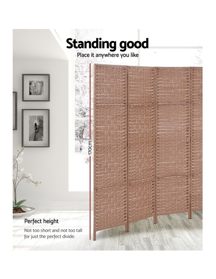 4 Panel Room Divider Screen Privacy Rattan Timber Foldable Dividers Stand Hand Woven image 4