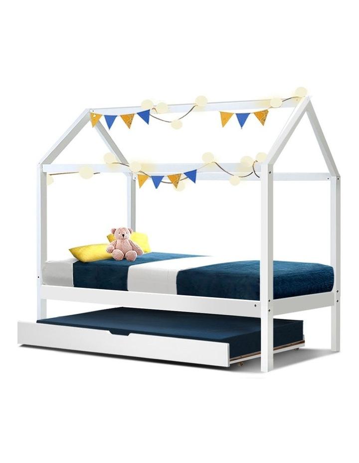 Wooden Bed Frame Single Size Mattress Base Pine Timber Platform White HOLY image 1