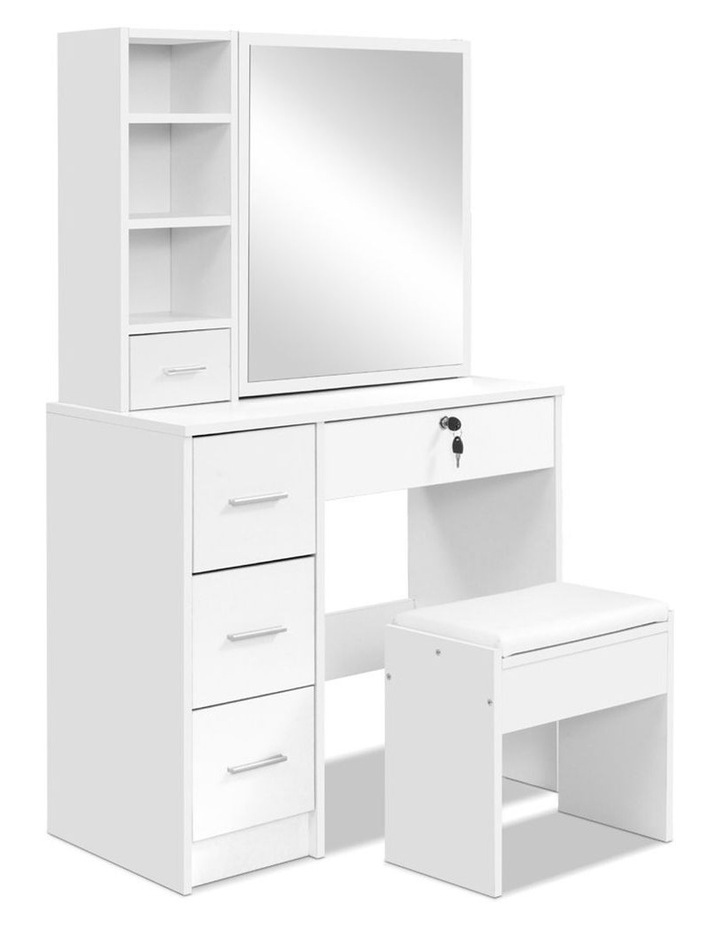 Dressing Table Stool Mirror Jewellery Cabinet Makeup Storage Drawer White image 3