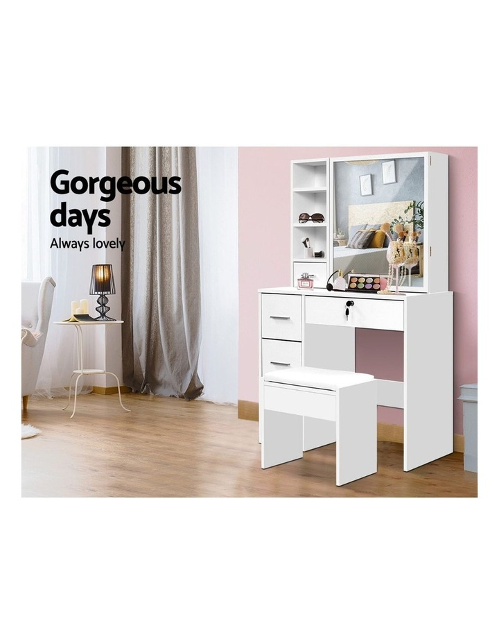 Dressing Table Stool Mirror Jewellery Cabinet Makeup Storage Drawer White image 4