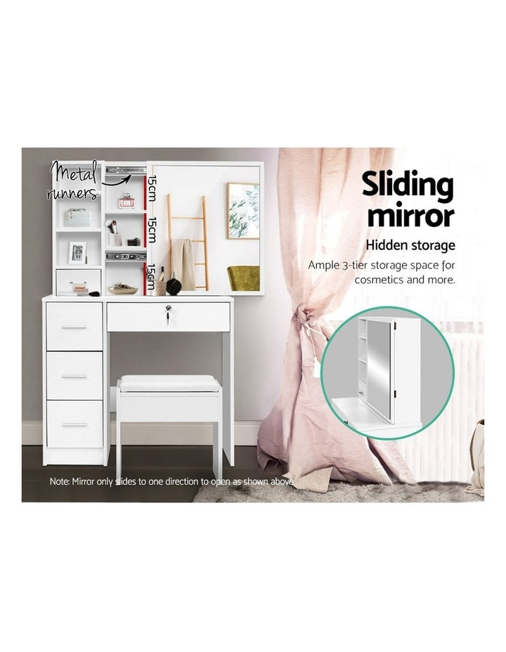 Dressing Table Stool Mirror Jewellery Cabinet Makeup Storage Drawer White image 5