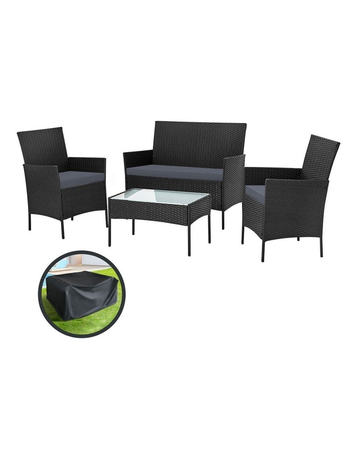 Garden Furniture Outdoor Lounge Setting Wicker Sofa Patio Storage Cover image 1