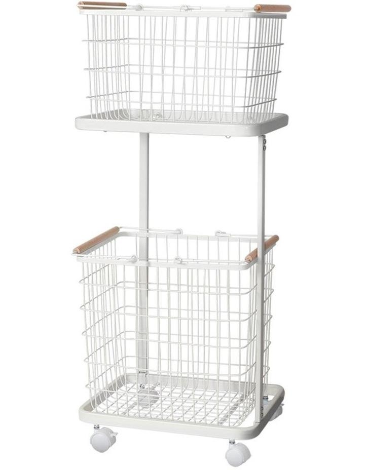 2 Tier Wire Storage Shelf Laundry Basket Hamper Metal Clothes Rack Shelves Trolley Organiser image 1