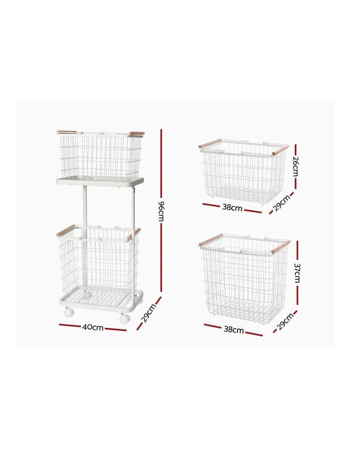 2 Tier Wire Storage Shelf Laundry Basket Hamper Metal Clothes Rack Shelves Trolley Organiser image 2
