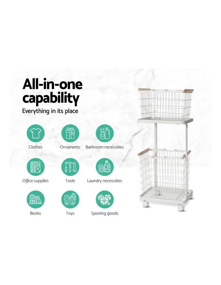 2 Tier Wire Storage Shelf Laundry Basket Hamper Metal Clothes Rack Shelves Trolley Organiser image 3
