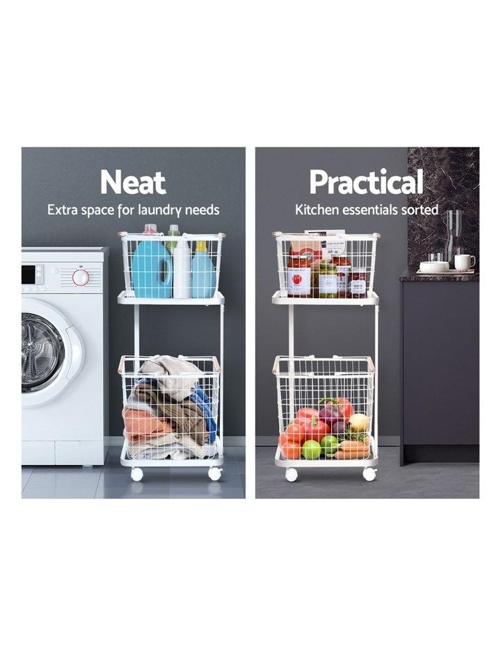 2 Tier Wire Storage Shelf Laundry Basket Hamper Metal Clothes Rack Shelves Trolley Organiser image 4