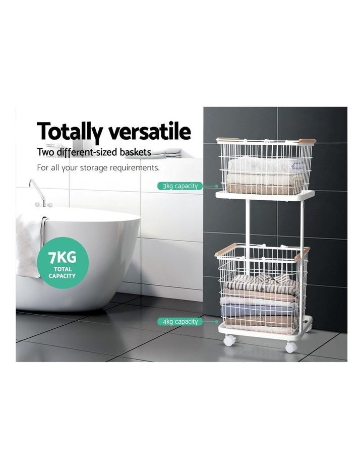 2 Tier Wire Storage Shelf Laundry Basket Hamper Metal Clothes Rack Shelves Trolley Organiser image 5