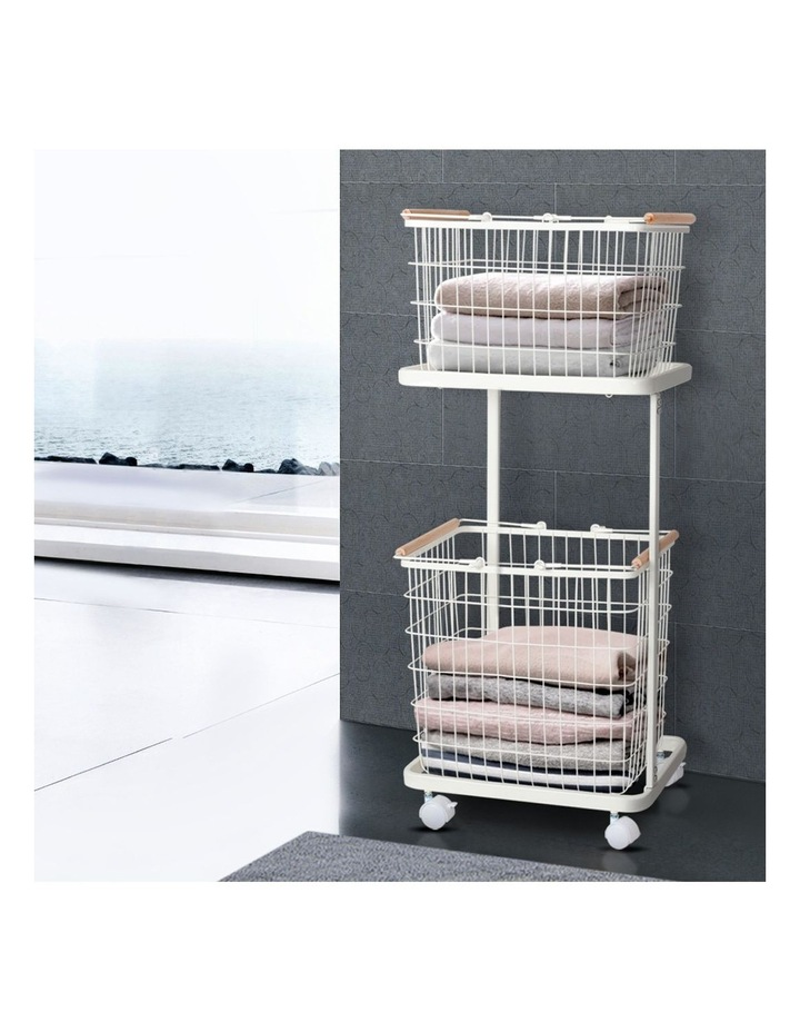 2 Tier Wire Storage Shelf Laundry Basket Hamper Metal Clothes Rack Shelves Trolley Organiser image 6
