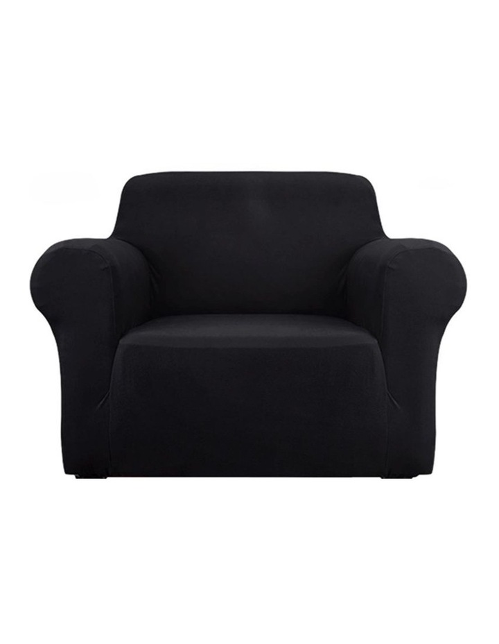 Sofa Cover Elastic Stretchable Couch Covers Black 1 Seater image 1