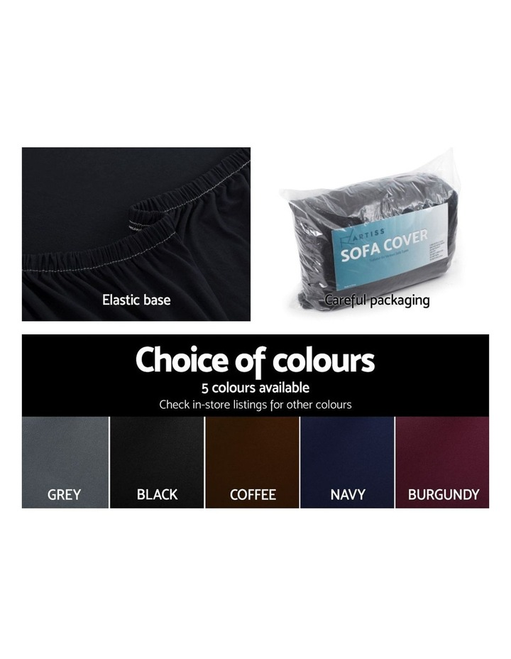 Sofa Cover Elastic Stretchable Couch Covers Black 1 Seater image 5