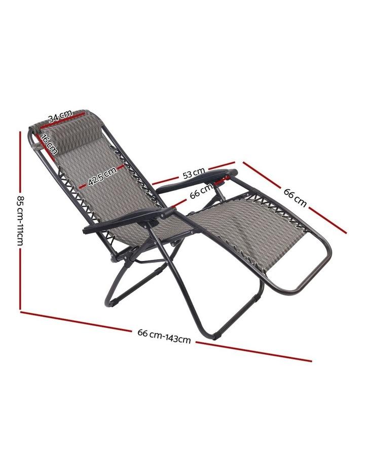 Zero Gravity Chairs 2PC Reclining Outdoor Furniture Sun Lounge Folding Camping Lounger Grey image 2